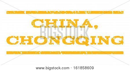 China, Chongqing watermark stamp. Text caption between horizontal parallel lines with grunge design style. Rubber seal stamp with scratched texture.