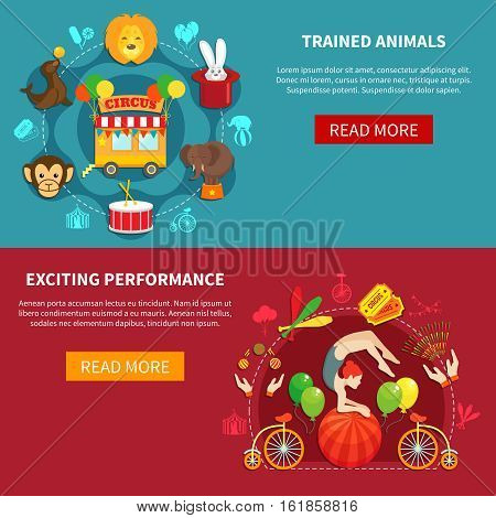 Circus flat banner set with animals and acrobats isolated vector illustration