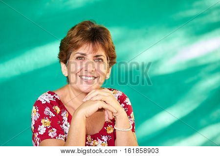 Cuban people and emotions portrait of latina lady laughing and looking at camera. Happy hispanic woman from Havana Cuba smiling