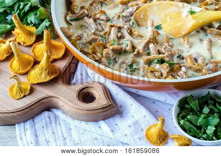 Chanterelle Mushrooms Pan-sauteed In White Sauce