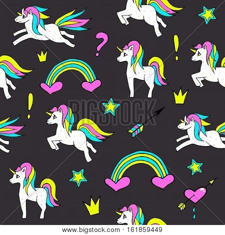 Seamless pattern with unicorns, rainbow, heart, crown and other elements.Vector background with stickers, pins, patches in cartoon 80s-90s comic style. poster