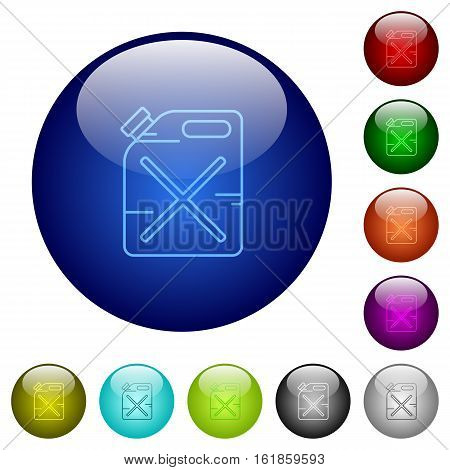 Gas can icons on round color glass buttons