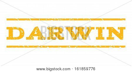 Darwin watermark stamp. Text caption between horizontal parallel lines with grunge design style. Rubber seal stamp with scratched texture. Vector yellow color ink imprint on a white background.