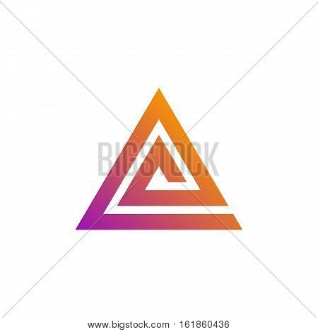 abstract triangle spiral logo template. triangular pyramid symbol. optical illusion shape. isolated on white background. vector illustration