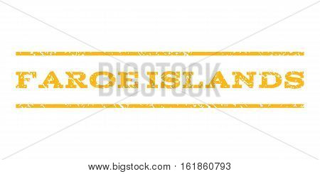 Faroe Islands watermark stamp. Text tag between horizontal parallel lines with grunge design style. Rubber seal stamp with unclean texture. Vector yellow color ink imprint on a white background.