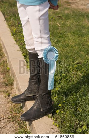 nice black leather horseman boots, green grass