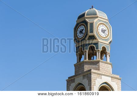 Sultan Qabus said fort fortress clock tower in Oman salalah