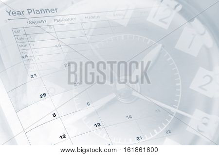 Clock face and year planner calendar