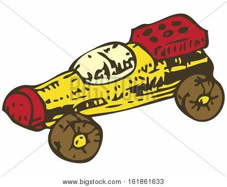 Wooden Toys Racing Car. Isolated on a White Background