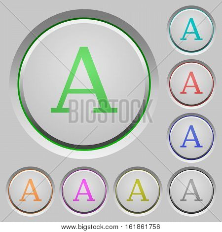 Font color icons on sunk push buttons