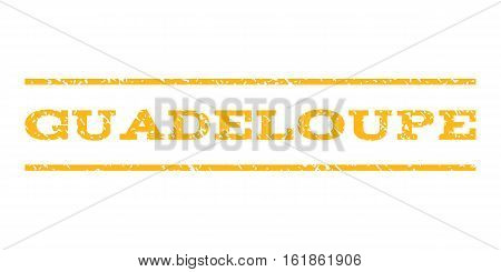 Guadeloupe watermark stamp. Text tag between horizontal parallel lines with grunge design style. Rubber seal stamp with dirty texture. Vector yellow color ink imprint on a white background.