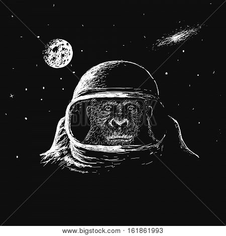 monkey astronaut in outer space.Travel in cosmos.Vector illustration