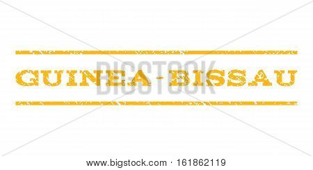 Guinea-Bissau watermark stamp. Text caption between horizontal parallel lines with grunge design style. Rubber seal stamp with dust texture. Vector yellow color ink imprint on a white background.