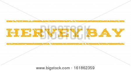 Hervey Bay watermark stamp. Text caption between horizontal parallel lines with grunge design style. Rubber seal stamp with unclean texture. Vector yellow color ink imprint on a white background.