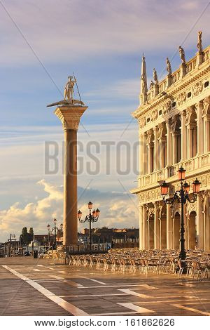 Piazzetta San Marco with granite column St Theodore in Venice, early in the morning before the invasion of tourists