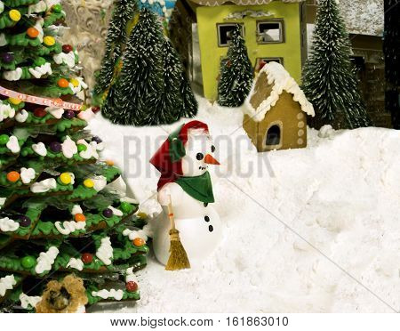 Christmas and New year with a fir-tree and a snowman