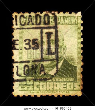 SPAIN, CIRCA 1932: stamp printed in Spain , showing portrait Emilio Castelar y Ripoll (1832-1899), spanish republican politician and a president of the First Spanish Republic, circa 1932