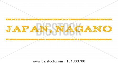 Japan, Nagano watermark stamp. Text caption between horizontal parallel lines with grunge design style. Rubber seal stamp with scratched texture. Vector yellow color ink imprint on a white background.
