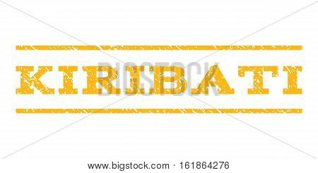 Kiribati watermark stamp. Text tag between horizontal parallel lines with grunge design style. Rubber seal stamp with unclean texture. Vector yellow color ink imprint on a white background.