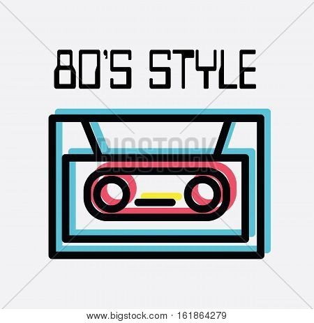 Music tape 80's style design flat vector stock