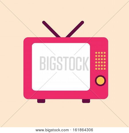 Television tv retro vintage pink 80's style display flat vector stock