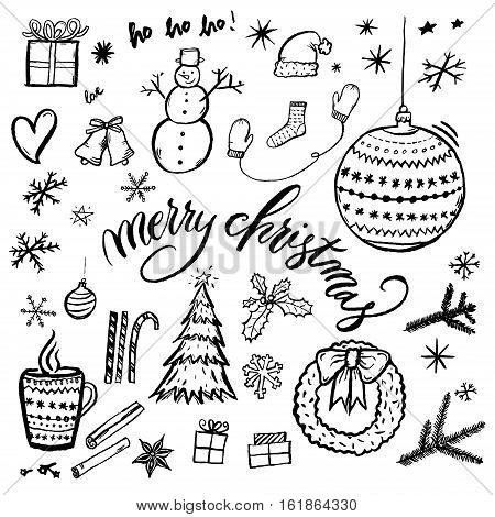 Merry Christmas hand-drawn illustration isolated on white background with text. Set of xmas hand drawn doodle drawings.