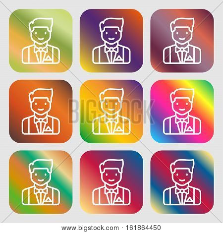 Butler Icon Sign. Nine Buttons With Bright Gradients For Beautiful Design. Vector