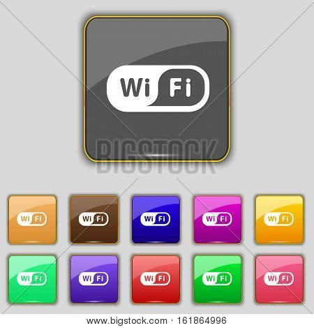 Wireless Network Icon Sign. Set With Eleven Colored Buttons For Your Site. Vector
