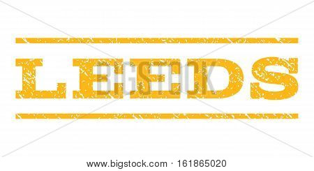 Leeds watermark stamp. Text tag between horizontal parallel lines with grunge design style. Rubber seal stamp with dust texture. Vector yellow color ink imprint on a white background.