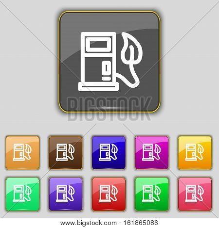 Gas Station With Leaves Icon Sign. Set With Eleven Colored Buttons For Your Site. Vector