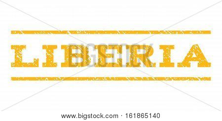 Liberia watermark stamp. Text tag between horizontal parallel lines with grunge design style. Rubber seal stamp with dirty texture. Vector yellow color ink imprint on a white background.