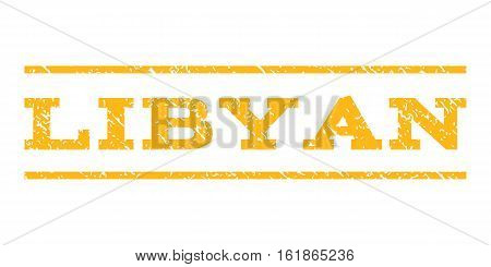 Libyan watermark stamp. Text caption between horizontal parallel lines with grunge design style. Rubber seal stamp with dust texture. Vector yellow color ink imprint on a white background.