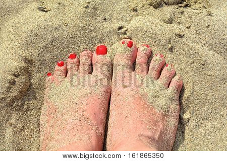 Women feet in the sand with red toenails