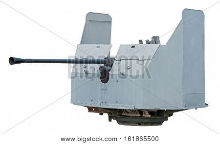 Naval Gun. World War II. Isolated on white with clipping path.