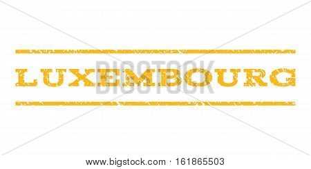 Luxembourg watermark stamp. Text tag between horizontal parallel lines with grunge design style. Rubber seal stamp with scratched texture. Vector yellow color ink imprint on a white background.