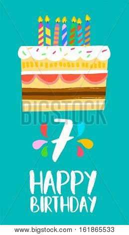 Happy Birthday Cake Card For 7 Seven Year Party