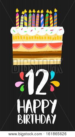 Happy Birthday Cake Card For 12 Twelve Year Party