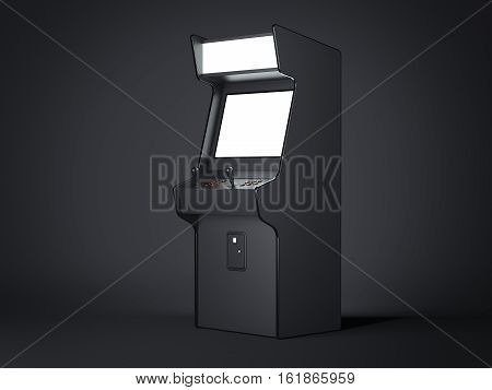 Dark gaming machine isolated on a black background. 3d rendering