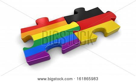 3D Illustration. Germany and LGBT puzzle from flags. Image with clipping path