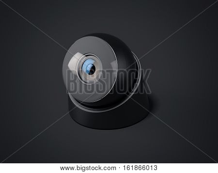 Modern black web camera isolated on a dark background. 3d rendering