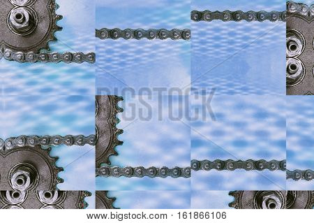 Collage of cogwheels and chain as technology background.Digitally altered image.