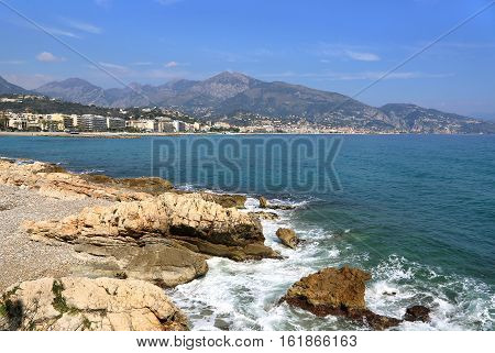 Beautiful sea view of Menton (border town with Italy near Monaco) on French Riviera from Cap Martin France