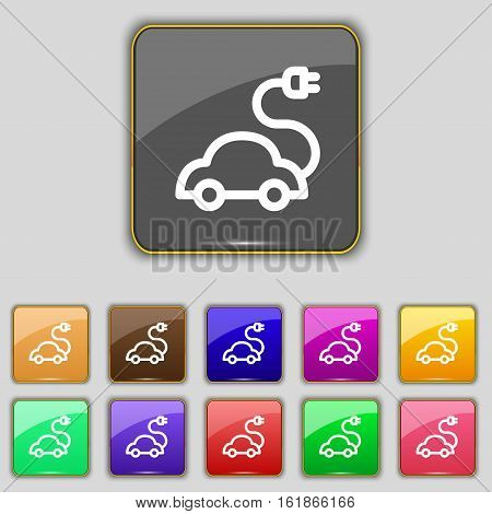Electric Car Icon Sign. Set With Eleven Colored Buttons For Your Site. Vector