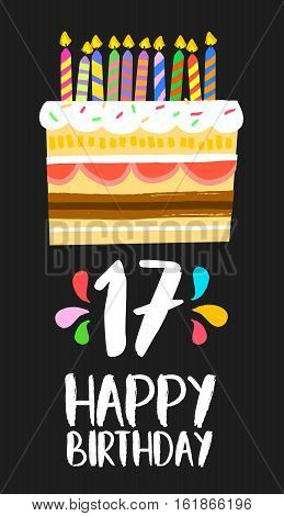 Happy Birthday Cake Card 17 Seventeen Year Party