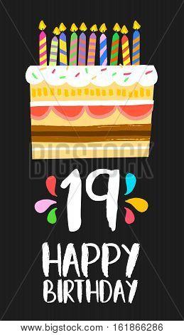 Happy Birthday Cake Card 19 Nineteen Year Party