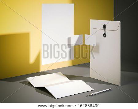 White blank mockup in a modern studio. 3d rendering