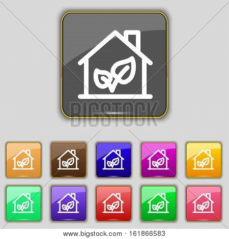 Bio Houses Icon Sign. Set With Eleven Colored Buttons For Your Site. Vector