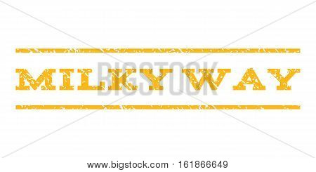 Milky Way watermark stamp. Text caption between horizontal parallel lines with grunge design style. Rubber seal stamp with scratched texture. Vector yellow color ink imprint on a white background.