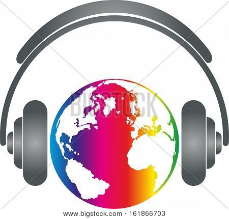 Headphones and earth, colored, music and sound logo