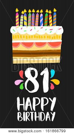 Happy Birthday Card 81 Eighty One Year Cake